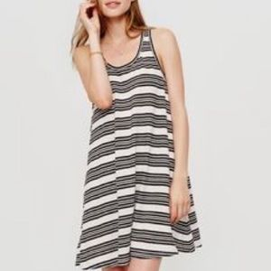 Lou & Grey White & Black Striped Swing Tank Dress